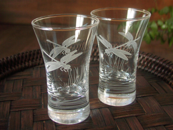 蜻蛉(トンボ)の酒グラス ペア